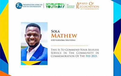 Sola Mathew Receives Award of Recognition in Commemoration of the International Youth Day 2021